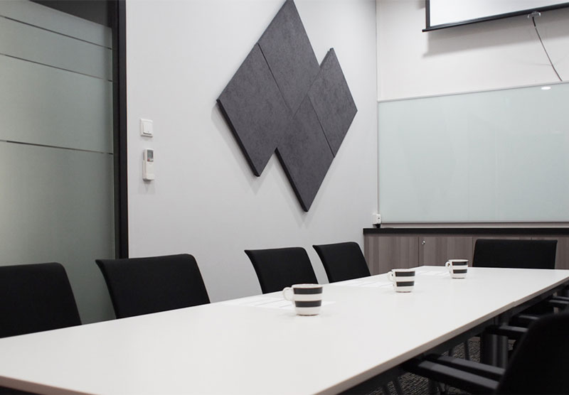 Meeting room with glass writing board